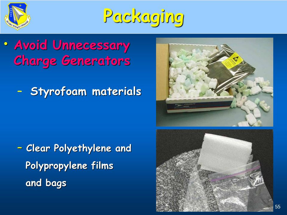 Packaging Avoid Unnecessary Charge Generators Styrofoam materials