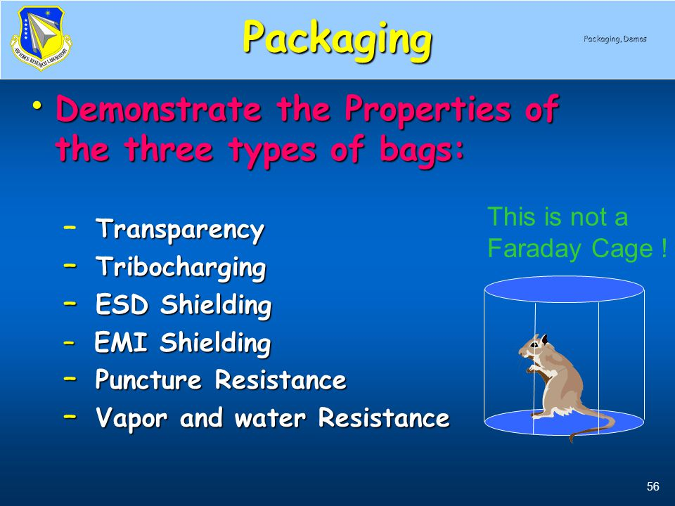 Packaging Demonstrate the Properties of the three types of bags: