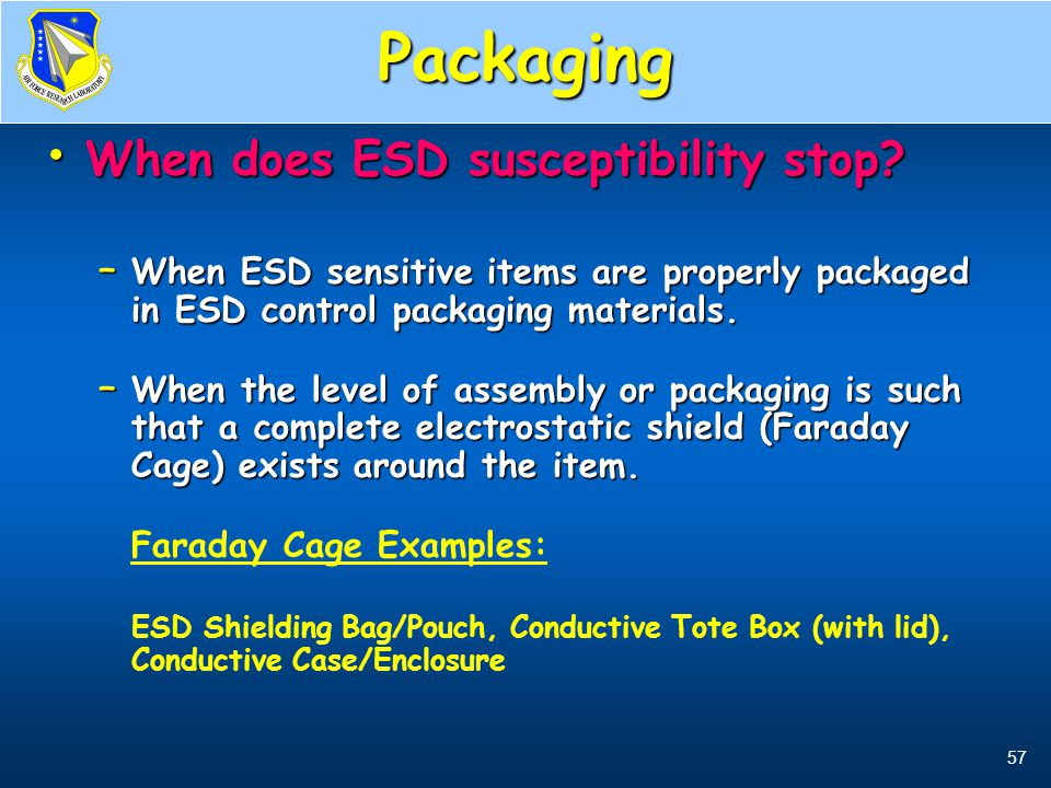 Packaging When does ESD susceptibility stop