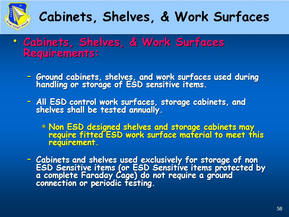 Cabinets, Shelves, & Work Surfaces