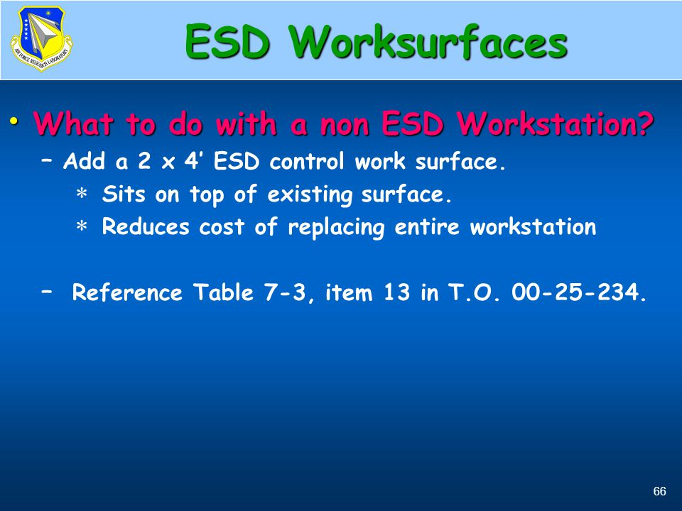 ESD Worksurfaces What to do with a non ESD Workstation