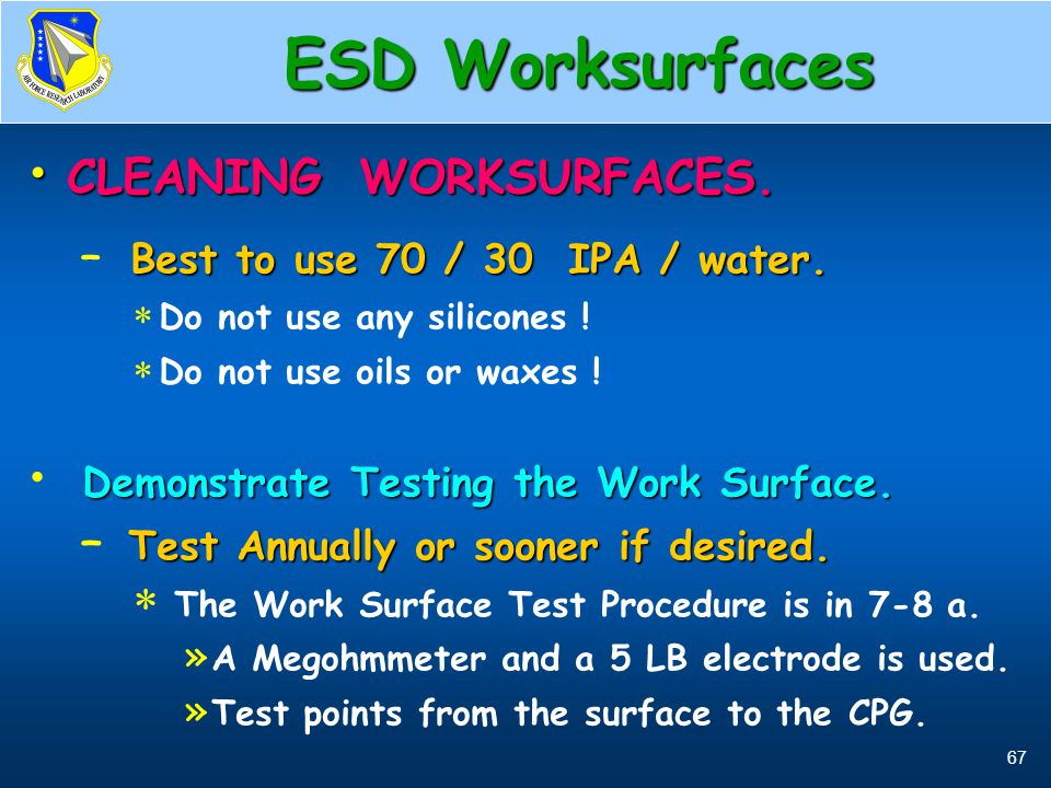ESD Worksurfaces CLEANING WORKSURFACES.