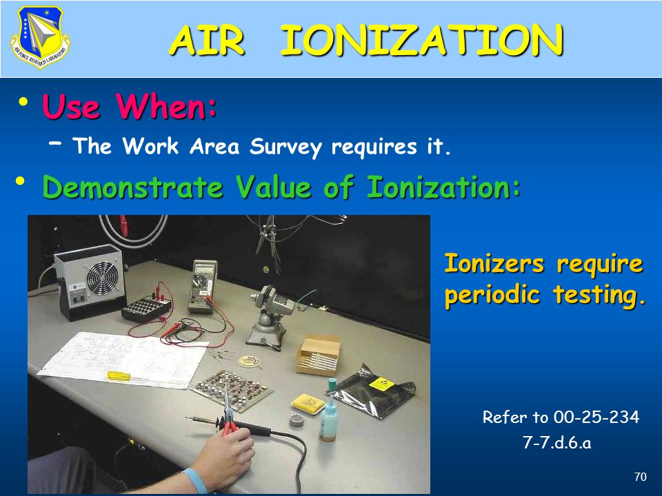 AIR IONIZATION Demonstrate Value of Ionization: Ionizers require