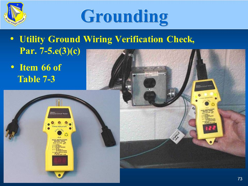 Grounding Utility Ground Wiring Verification Check, Par. 7-5.e(3)(c)