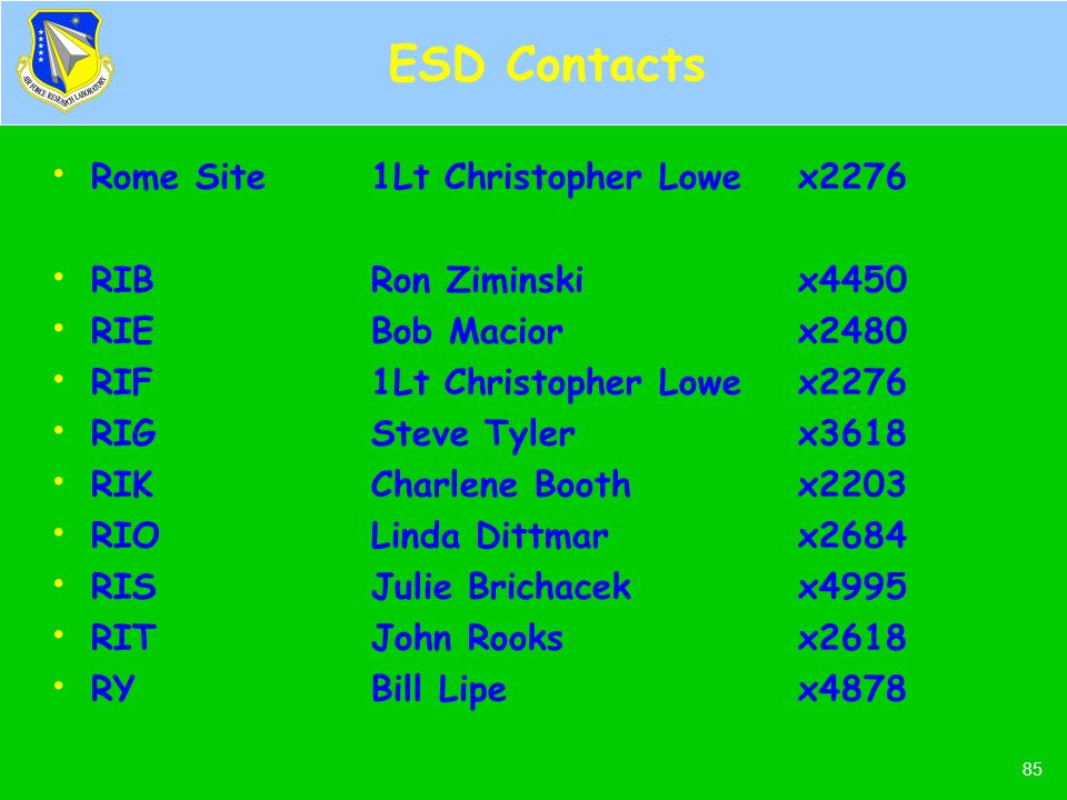 ESD Contacts Rome Site 1Lt Christopher Lowe x2276