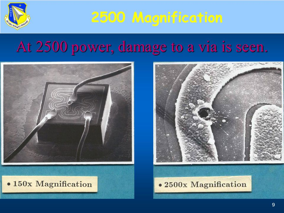 At 2500 power, damage to a via is seen.