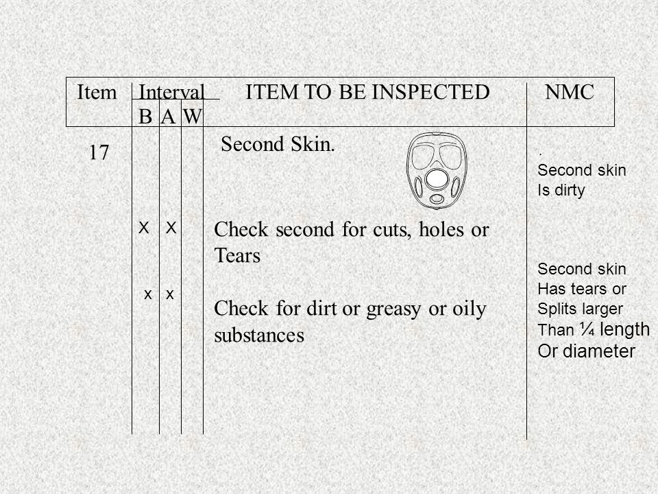 Item Interval ITEM TO BE INSPECTED NMC B A W Second Skin. 17