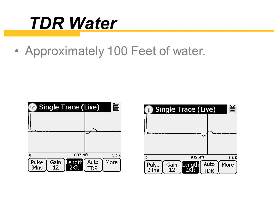 TDR Water Approximately 100 Feet of water.