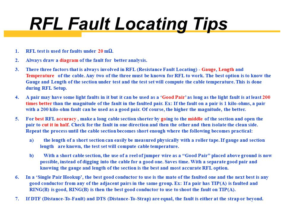 RFL Fault Locating Tips
