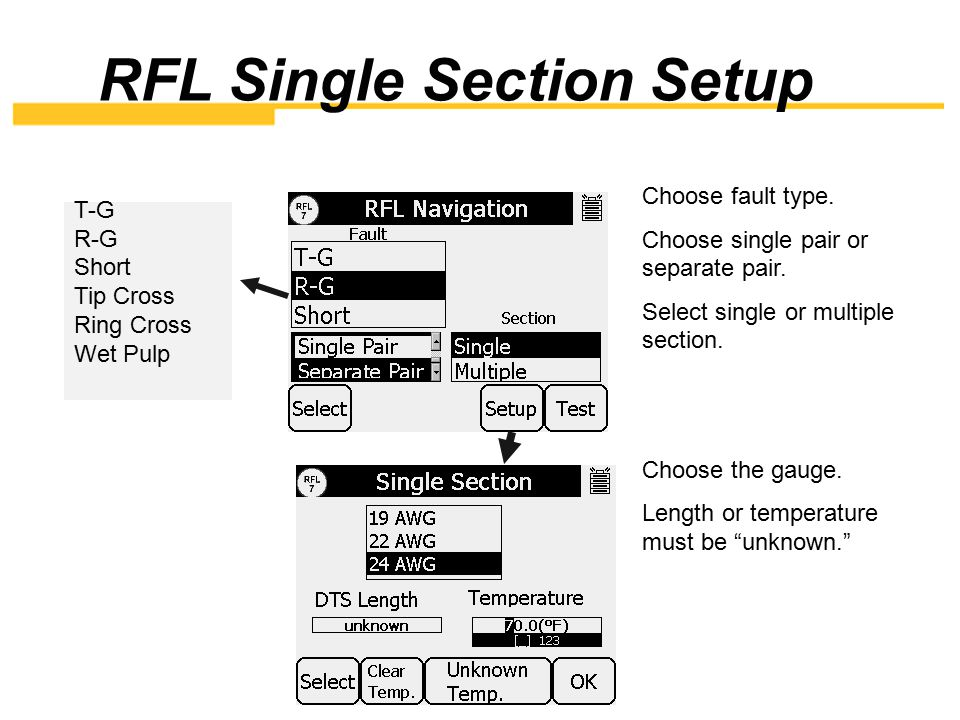RFL Single Section Setup
