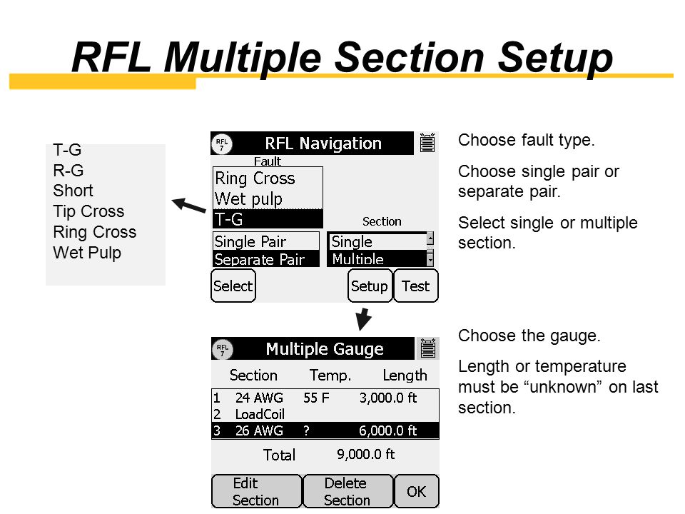 RFL Multiple Section Setup
