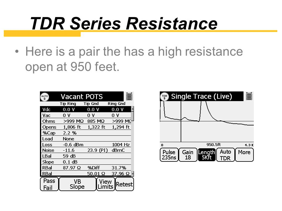 TDR Series Resistance Here is a pair the has a high resistance open at 950 feet.