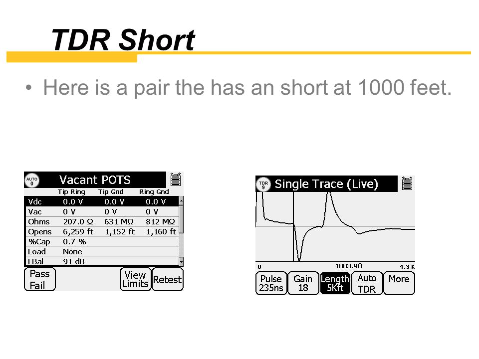 TDR Short Here is a pair the has an short at 1000 feet.