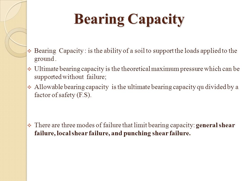 Bearing Capacity Bearing Capacity : is the ability of a soil to support the loads applied to the ground .