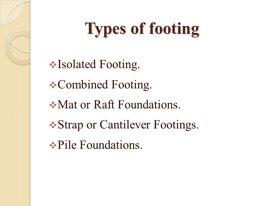 Types of footing Isolated Footing. Combined Footing.