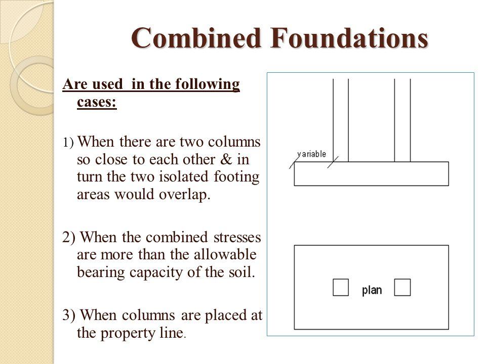 Combined Foundations Are used in the following cases: