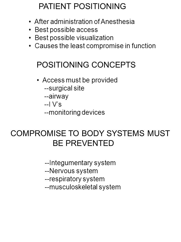 COMPROMISE TO BODY SYSTEMS MUST BE PREVENTED