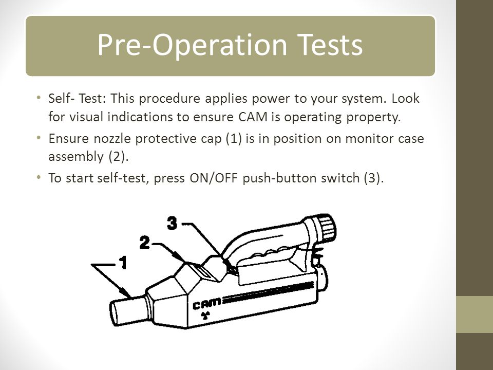To start self-test, press ON/OFF push-button switch (3).