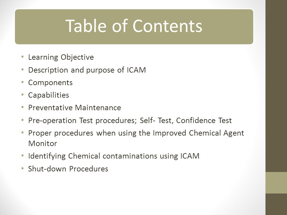 Description and purpose of ICAM Components Capabilities