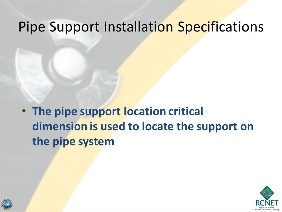 Pipe Support Installation Specifications