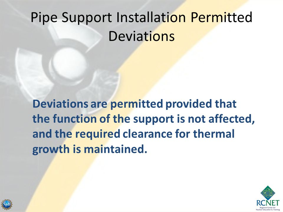 Pipe Support Installation Permitted Deviations