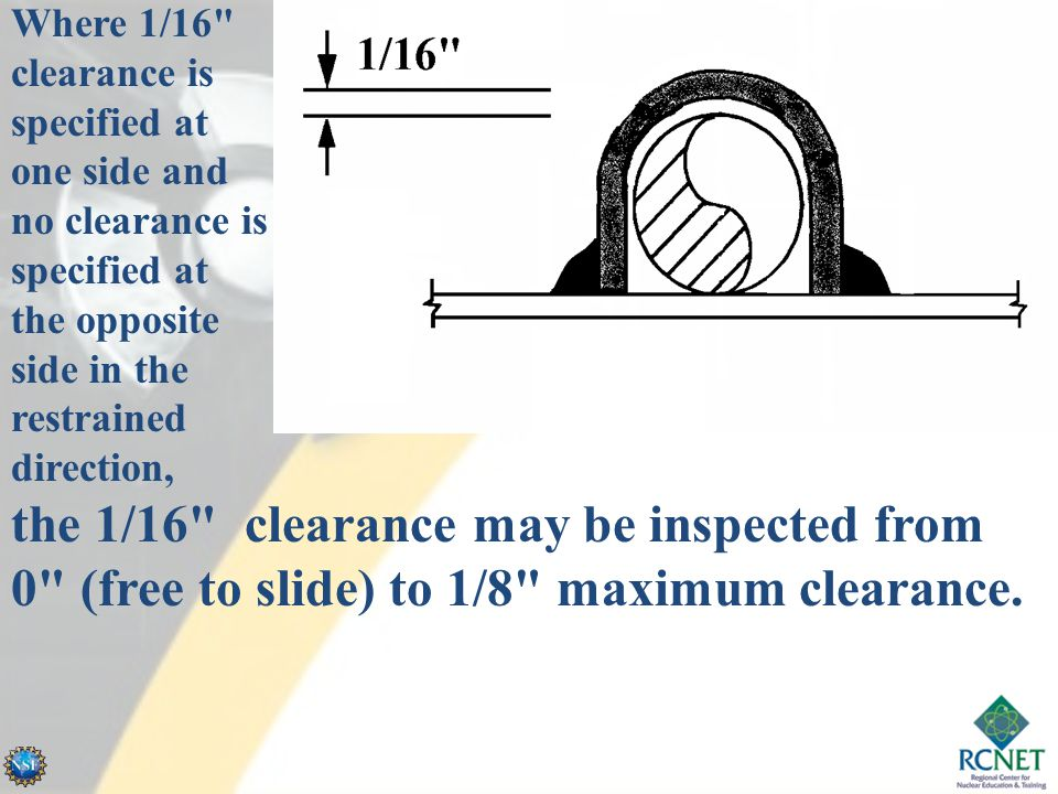 Where 1/16 clearance is specified at one side and no clearance is specified at the opposite side in the restrained direction,