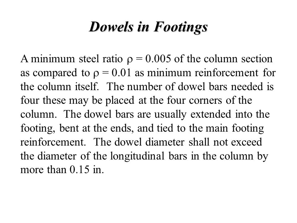 Dowels in Footings