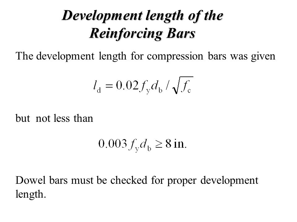 Development length of the Reinforcing Bars