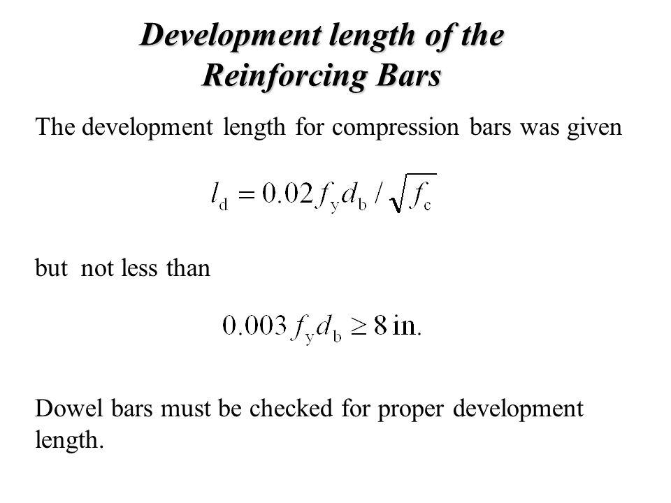 Development length of the Reinforcing Bars