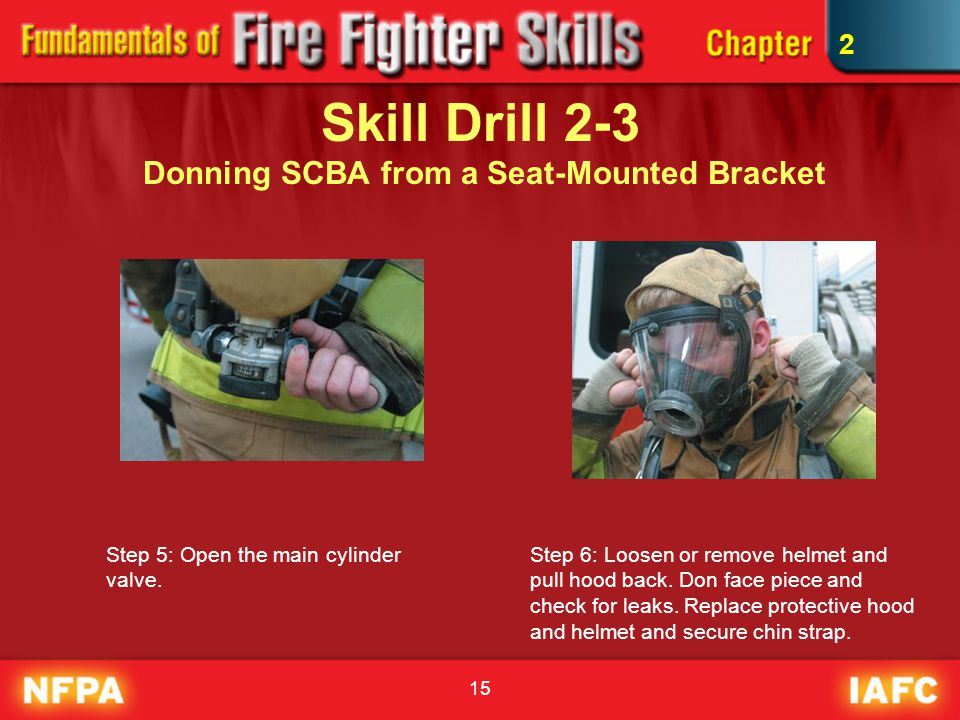 Skill Drill 2-3 Donning SCBA from a Seat-Mounted Bracket