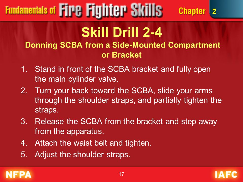 2 Skill Drill 2-4 Donning SCBA from a Side-Mounted Compartment or Bracket.