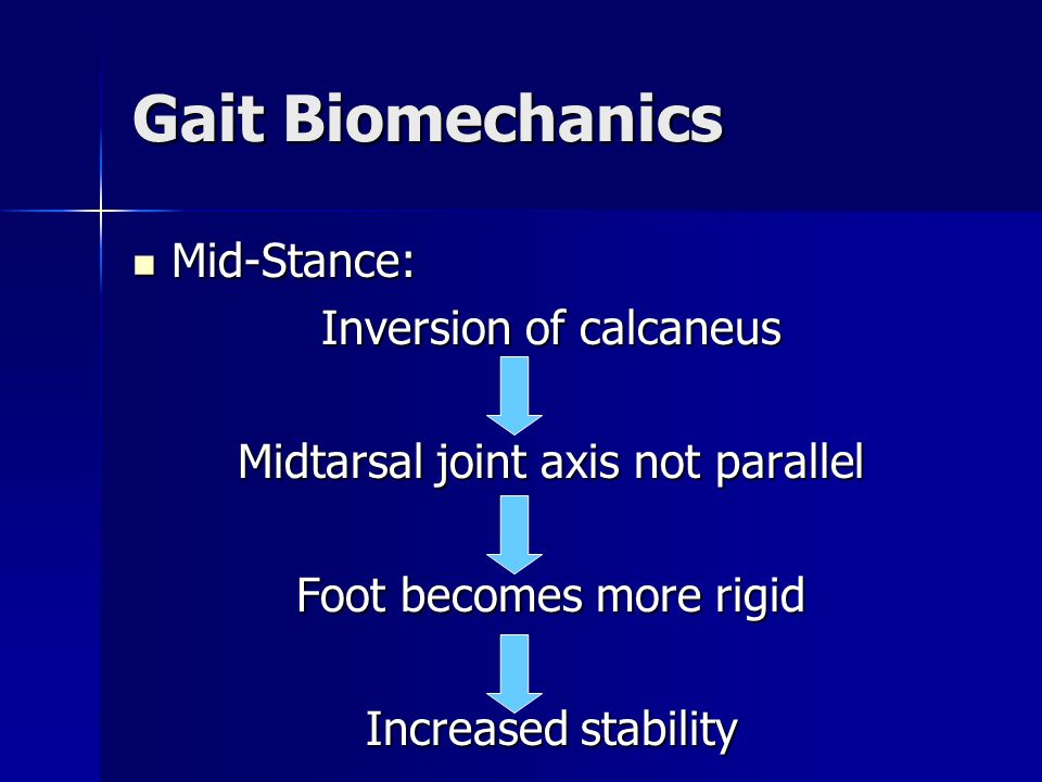 Gait Biomechanics Mid-Stance: Inversion of calcaneus