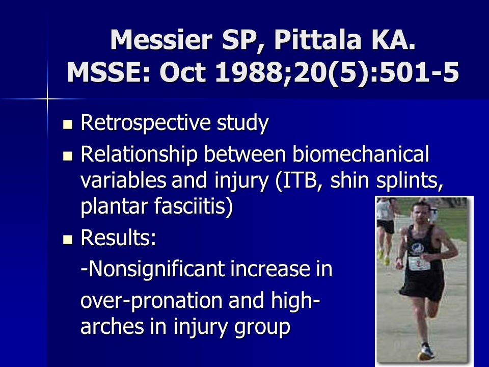 Messier SP, Pittala KA. MSSE: Oct 1988;20(5):501-5