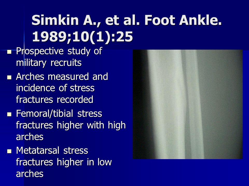 Simkin A., et al. Foot Ankle. 1989;10(1):25