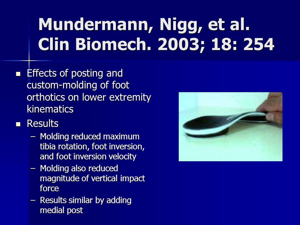 Mundermann, Nigg, et al. Clin Biomech. 2003; 18: 254
