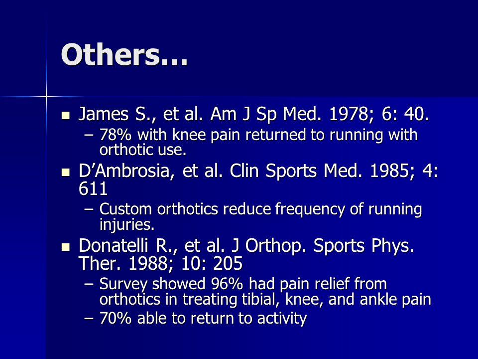 Others… James S., et al. Am J Sp Med. 1978; 6: 40.