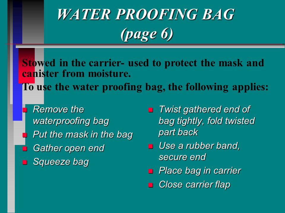 WATER PROOFING BAG (page 6)