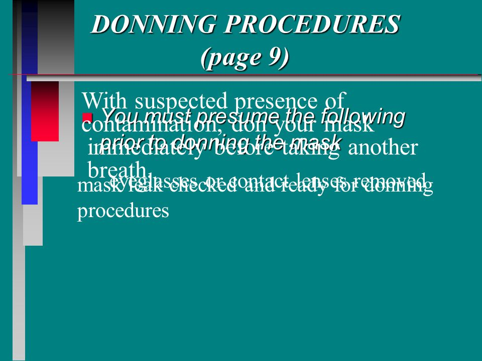 DONNING PROCEDURES (page 9)