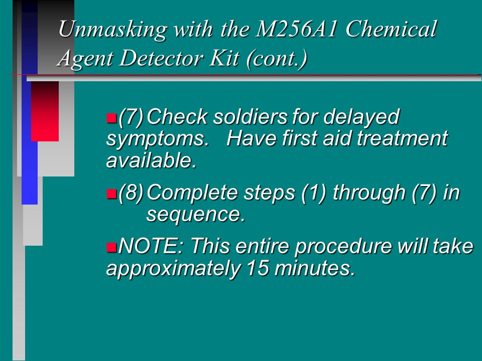 Unmasking with the M256A1 Chemical Agent Detector Kit (cont.)