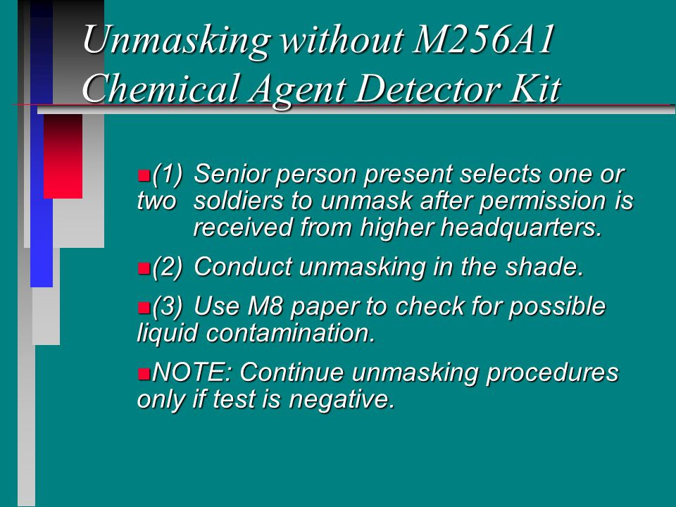Unmasking without M256A1 Chemical Agent Detector Kit