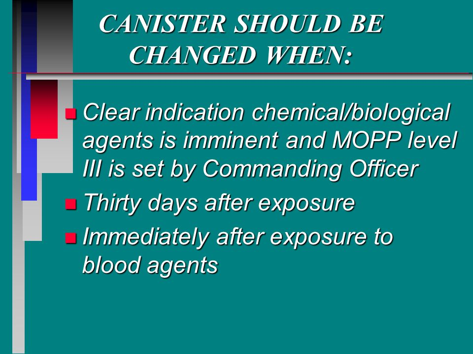 CANISTER SHOULD BE CHANGED WHEN: