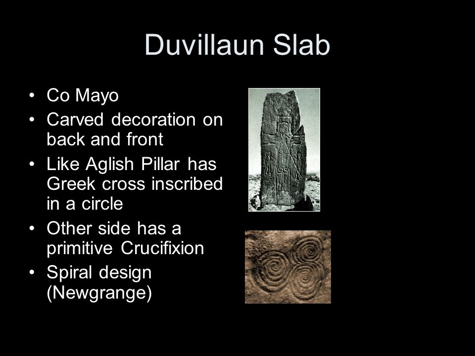 Duvillaun Slab Co Mayo Carved decoration on back and front