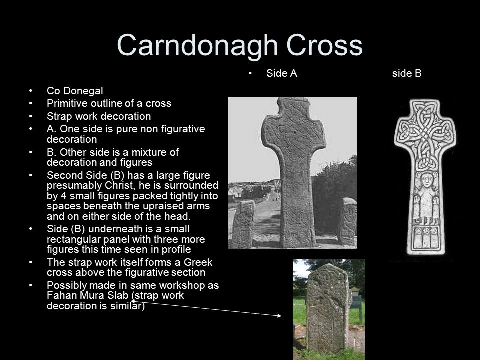 Carndonagh Cross Side A side B Co Donegal Primitive outline of a cross