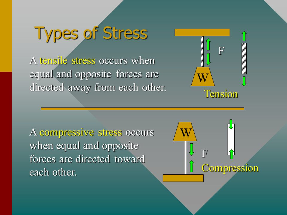 Types of Stress F. W. Tension. A tensile stress occurs when equal and opposite forces are directed away from each other.
