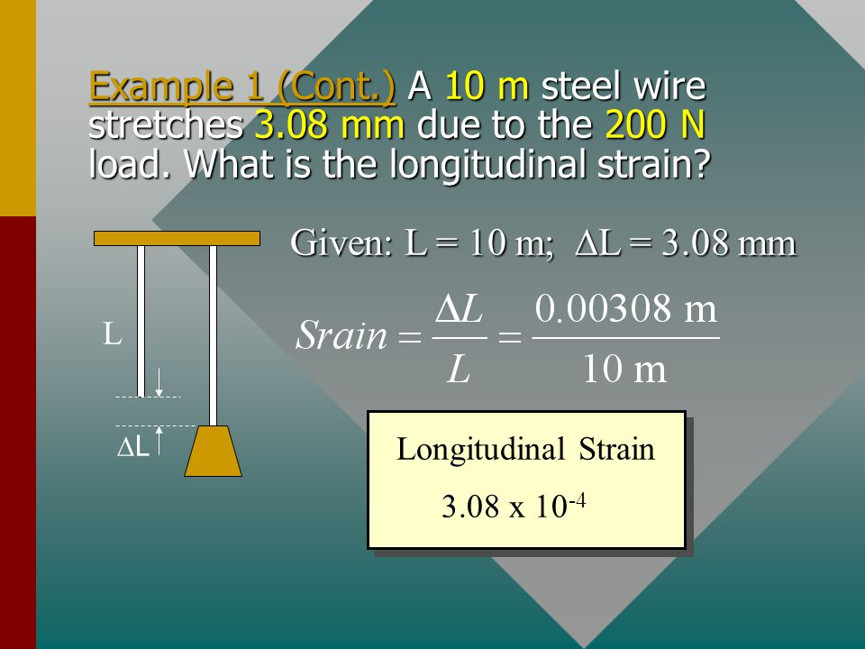 Example 1 (Cont. ) A 10 m steel wire stretches 3