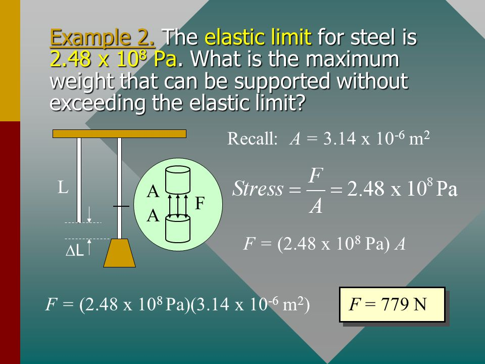Example 2. The elastic limit for steel is 2. 48 x 108 Pa