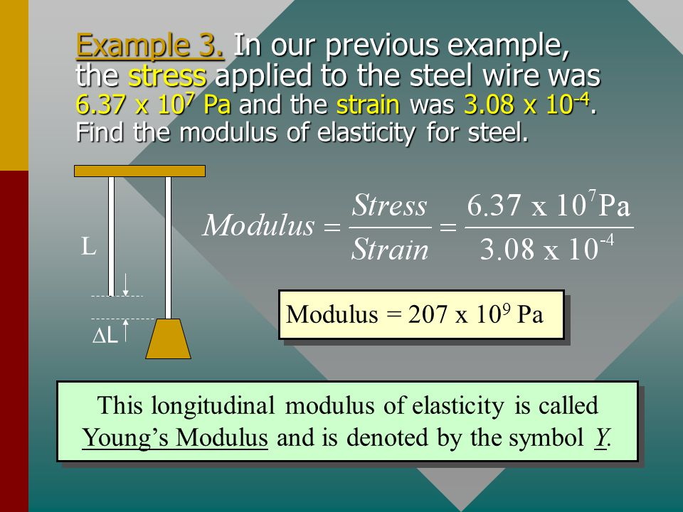 Example 3. In our previous example, the stress applied to the steel wire was 6.37 x 107 Pa and the strain was 3.08 x 10-4. Find the modulus of elasticity for steel.