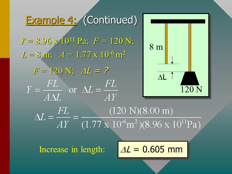 Example 4: (Continued) 8 m 120 N Y = 8.96 x 1011 Pa; F = 120 N;