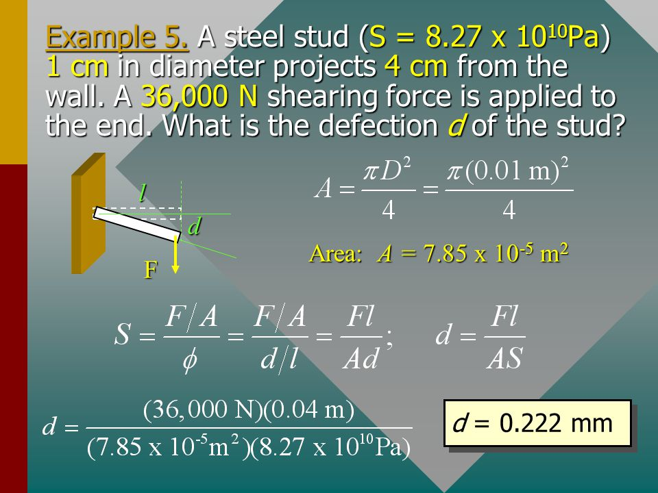 Example 5. A steel stud (S = 8