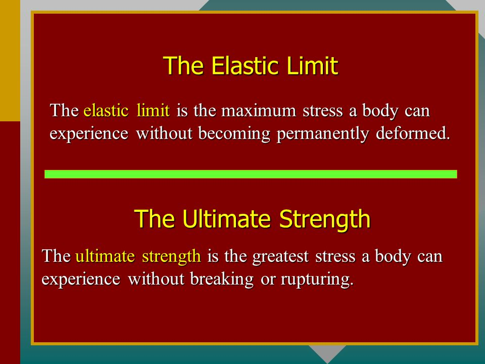 The Elastic Limit The Ultimate Strength